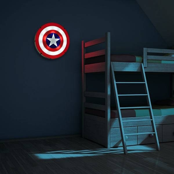 Captain America Shield Light Up Wall Art With Sound | Thinkgeek Regarding Light Up Wall Art (View 23 of 25)