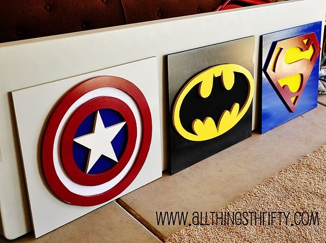 Captain America Wall Art, Part Three Of Benson's Room! | Pinterest Pertaining To Superhero Wall Art (Image 1 of 20)