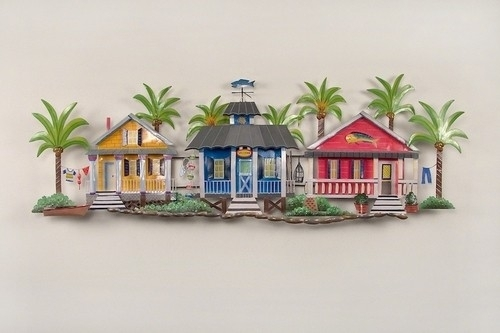 Caribbean Village Tropical Beach Decor Wall Art Throughout Tropical Wall Art (Image 4 of 20)