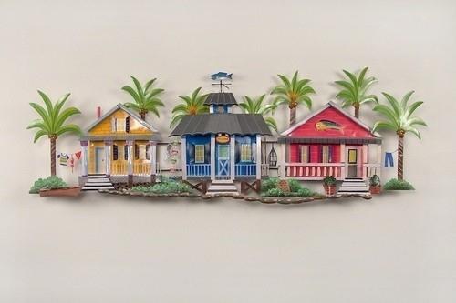 Caribbean Village Tropical Beach Decor Wall Art Throughout Tropical Wall Art (Image 4 of 20)