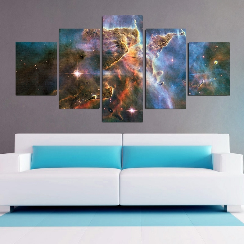 Carina Nebula 5 Piece Canvas Wall Art Set With 5 Piece Canvas Wall Art (View 9 of 25)