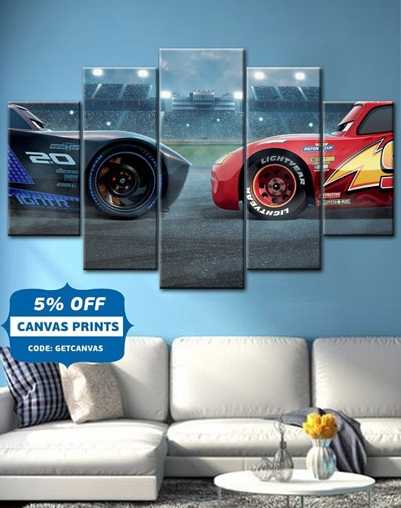 Cars 3 ,lightning ,mcqueen , Movie Canvas Wall Art, Cars Poster Throughout Car Canvas Wall Art (View 14 of 25)