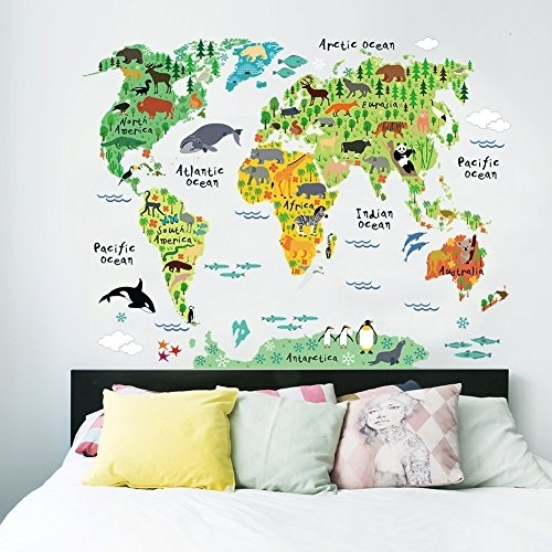 Cartoon Background Colorful English Words World Map Wall Art Decals Throughout Wall Art Stickers World Map (View 24 of 25)