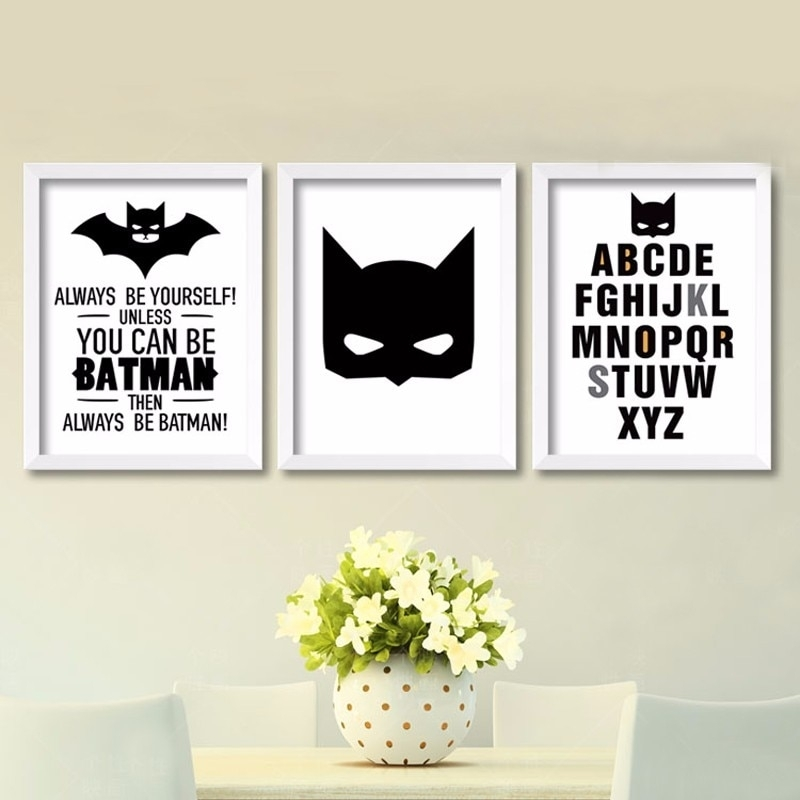 Cartoon Batman Canvas Art Print , Superhero Painting Poster Nursery Intended For Batman Wall Art (View 20 of 20)