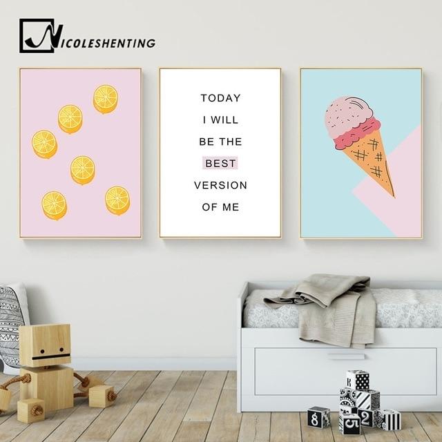 Cartoon Food Ice Cream Motivational Wall Art Canvas Posters Prints With Motivational Wall Art (View 8 of 25)