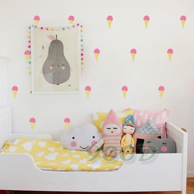 Cartoon Little Ice Cream Wall Stickers Wall Decals, Removable Child With Regard To Art Wall Decors (View 21 of 25)