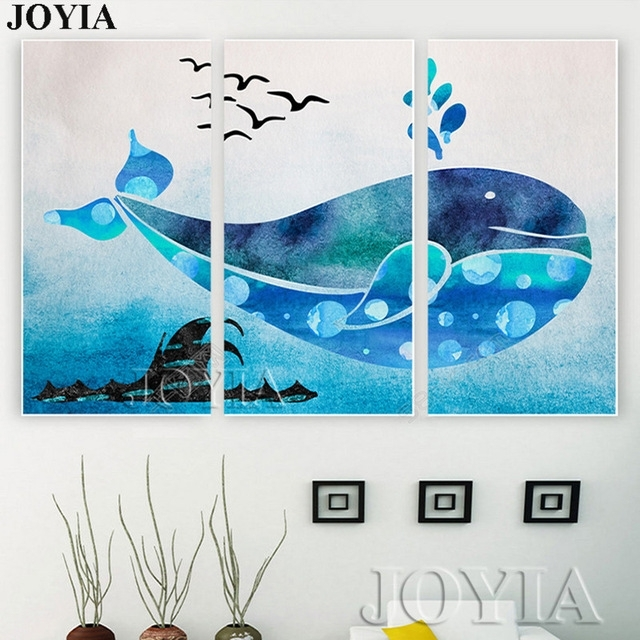 Cartoon Wall Art Blue Whale Ocean Printed Paintings Kids Room Decor Regarding Whale Canvas Wall Art (View 6 of 25)
