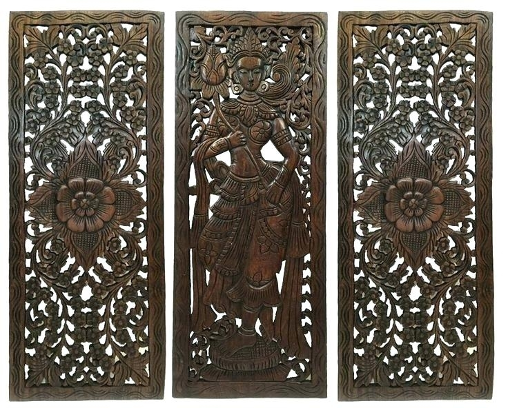 Carved Wall Decor 8 Vintage Carved Wood Wall Decor Panel Flower Wood In Wood Carved Wall Art (Image 5 of 25)