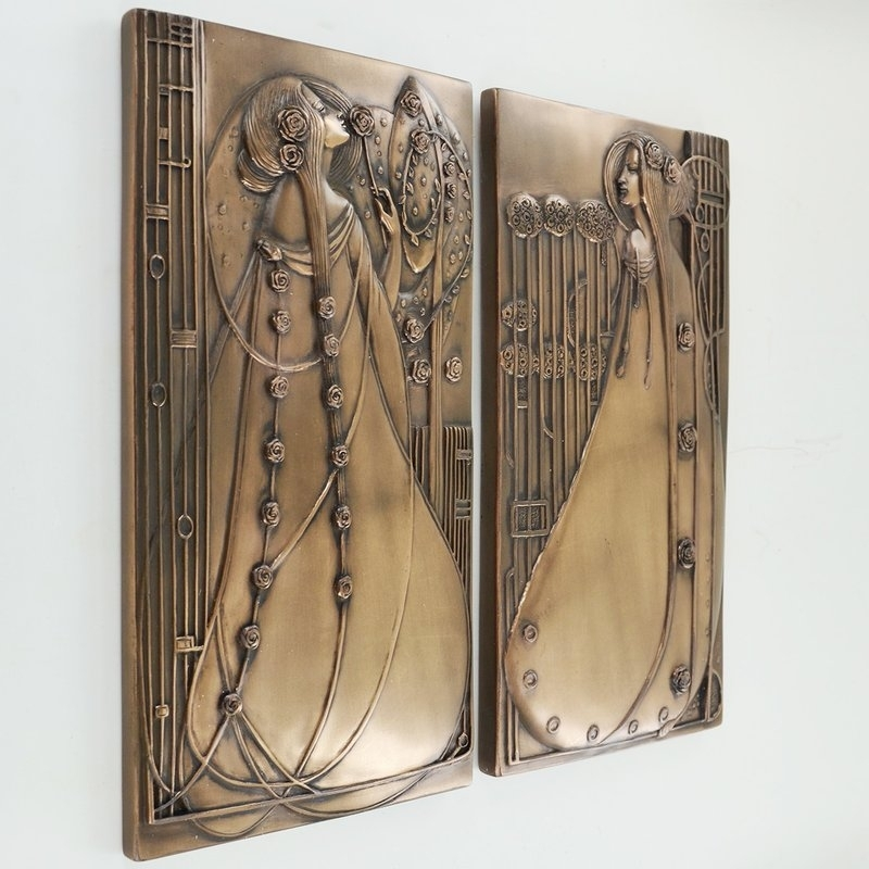 Castleton Home 2 Piece Mackintosh Style Art Deco Cold Cast Bronze For Bronze Wall Art (View 22 of 25)