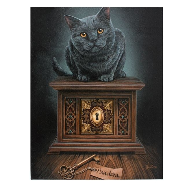 Cat Canvas 'pandora'lisa Parker Mystical Cat Mythical Wall Art Within Cat Canvas Wall Art (View 25 of 25)