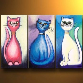 Cat Stories Modern Canvas Art Wall Decor Animal Oil Painting Wall Regarding Cat Canvas Wall Art (View 6 of 25)