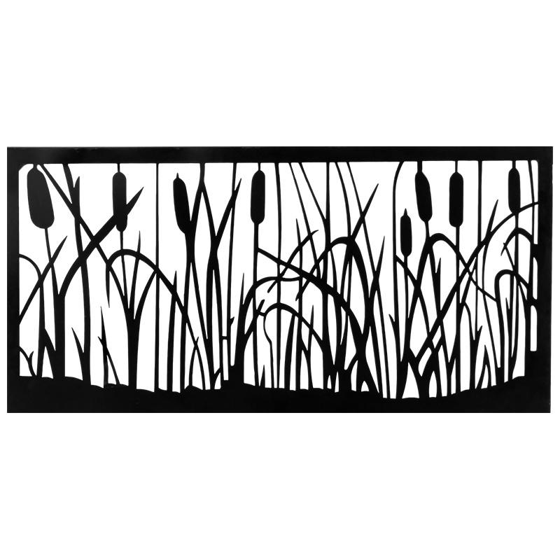 Cattails Black Metal Wall Art Decorative Panel – Sekit International Pertaining To Black Metal Wall Art (Image 14 of 25)