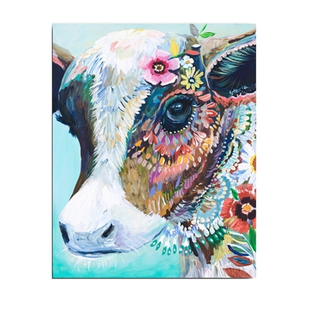Cattle Animals Cow Head Colorful Canvas Art Printed Oil Paintings Pertaining To Colorful Wall Art (Image 4 of 20)