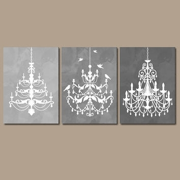 Chandelier Wall Art Canvas Or Prints Gray From Trm Design | Wall In Chandelier Wall Art (Image 3 of 20)