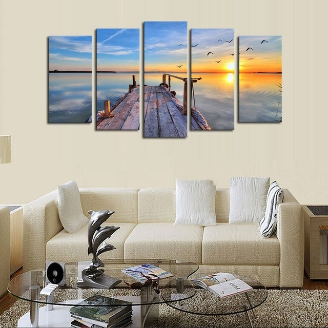 Cheap Wall Frames 5 Panels Sunset Seascape Scenery Picture Print Regarding Cheap Wall Art (Image 9 of 10)