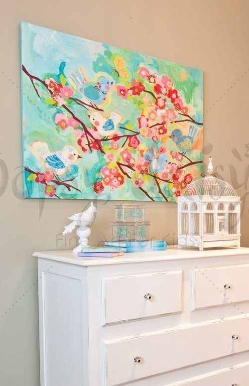 Cherry Blossom Birdies – Floral Canvas Wall Art | Oopsy Daisy With Regard To Floral Canvas Wall Art (View 24 of 25)