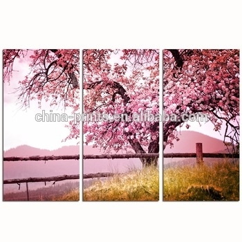 Cherry Blossom Trees Wall Art/3 Pieces Autumn Forest Canvas Print With Cherry Blossom Wall Art (View 24 of 25)