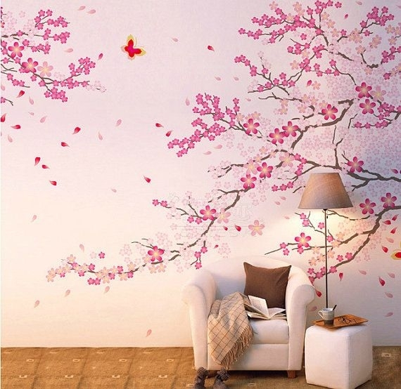 Cherry Blossom Wall Decal Pink Flower Wall Sticker Butterfly Wall With Cherry Blossom Wall Art (View 8 of 25)