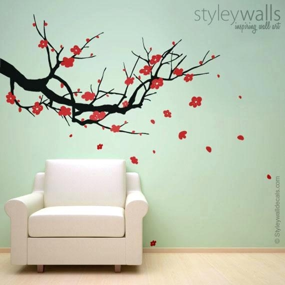 Cherry Blossom Wall Decor Japanese Cherry Blossom Wall Decor Within Cherry Blossom Wall Art (View 20 of 25)