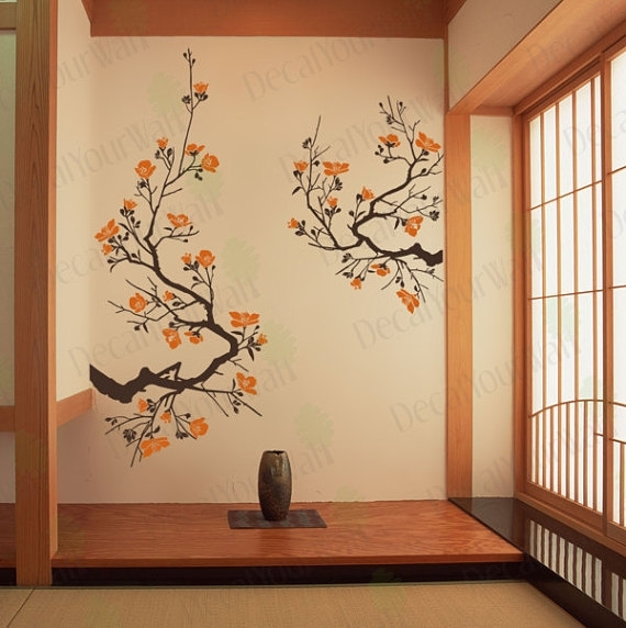Cherry Blossom Wall Fancy Japanese Wall Art – Wall Decoration Ideas With Regard To Cherry Blossom Wall Art (View 23 of 25)