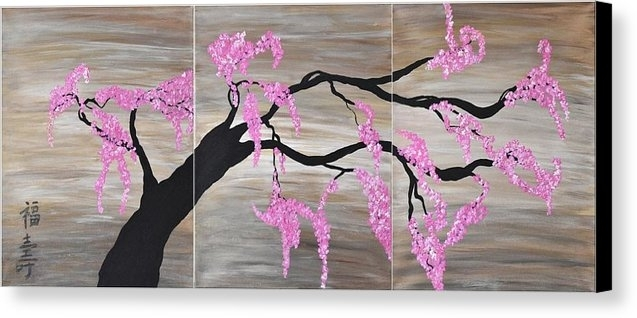 Cherry Blossoms Art Pink Contemporary Flower Tree Art Cherry Regarding Cherry Blossom Wall Art (View 12 of 25)