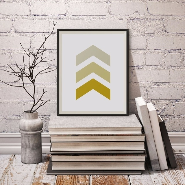 Chevron Canvas Wall Art, Printable Poster, Gold Chevron, Minimalist Inside Chevron Wall Art (View 16 of 25)