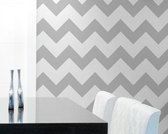 Chevron Wall Stencil Large Stencil To Paintroyaldesignstencils Inside Chevron Wall Art (Image 9 of 25)