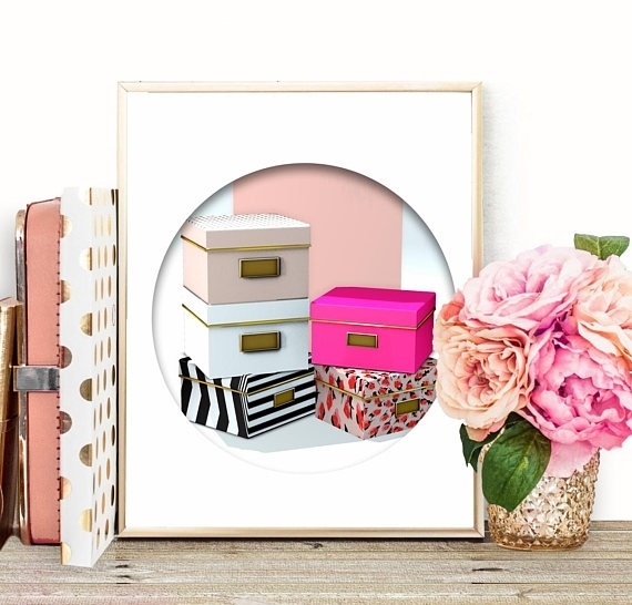 Chic Wall Art Kate Spade Storage Boxes Pink Office Decor Printable Inside Kate Spade Wall Art (Image 4 of 20)