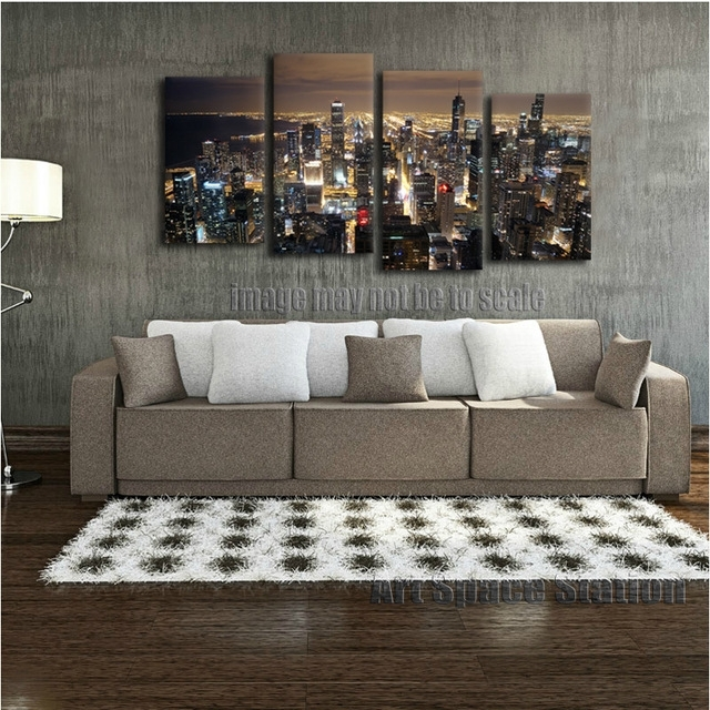 Chicago Skyline Giant Wall Art Home Decor Hd Canvas Print,chicago Within Giant Wall Art (Image 8 of 25)