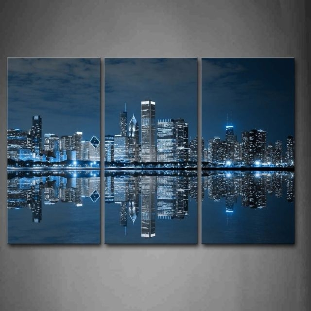 Chicago Skyline Wall Art Painting Canvas City Print Photo Frame Home With Chicago Wall Art (Image 5 of 10)