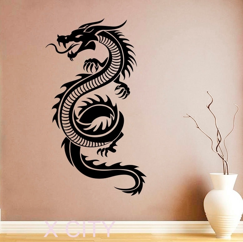 Chinese Dragon Sticker Wall Art Orient Mythology Decal Vinyl Home In Dragon Wall Art (Image 5 of 25)