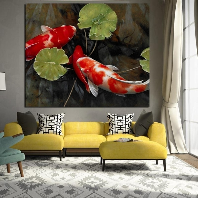 Chinese Koi Fish Lotus Canvas Prints Feng Shui Animal Landscape With Regard To Fish Painting Wall Art (View 15 of 25)