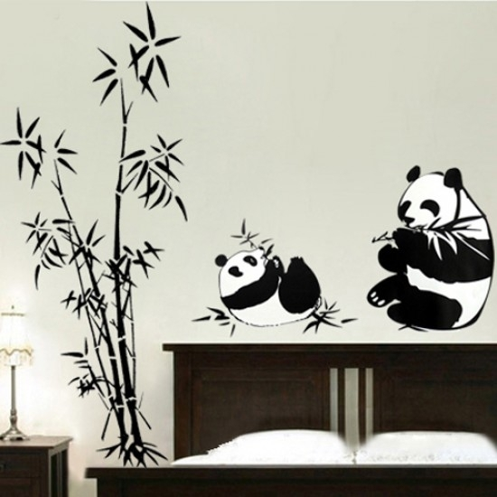 Chinese Panda Eating Bamboo Wall Art Decals | Vinyl Wall Decals With Regard To Bamboo Wall Art (Image 14 of 25)