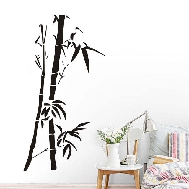 Chinese Wall Art Bamboo Wall Stickers For Living Room Wall Decor With Bamboo Wall Art (View 2 of 25)