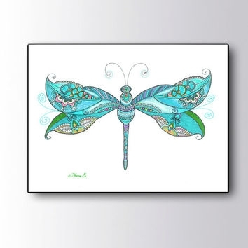 Christmas Gift Idea, Blue Dragonfly From Dhanadesign On Etsy | My Pertaining To Dragonfly Painting Wall Art (View 6 of 25)