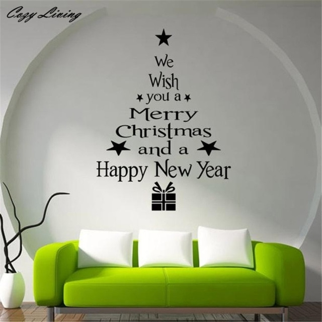 Christmas Tree Letters Stick Wall Art Decal Mural Home Room Decor For Stick On Wall Art (Image 5 of 20)