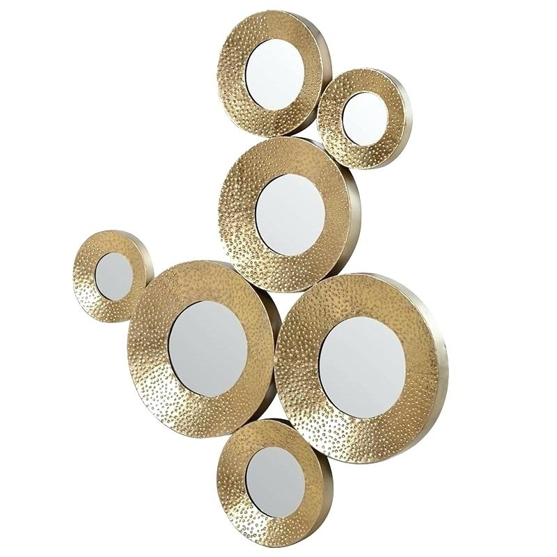 Circle Metal Wall Art Gold Metal Circle Mirror Wall Art Sculpture With Gold Metal Wall Art (Image 2 of 10)