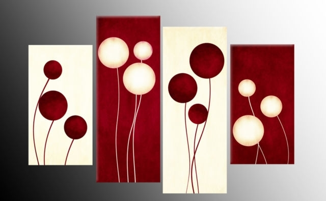 Circles Flower Style Abstract Available As 4 Panel Split Canvas With Circle Wall Art (Image 8 of 25)