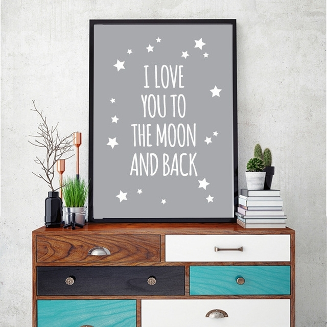 Classic Quote I Love You To The Moon And Back Nursery Wall Art Regarding I Love You To The Moon And Back Wall Art (View 3 of 20)