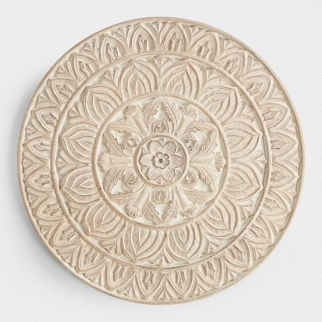 Classy Design Circle Wall Decor Home Ideas Whitewashed Round Wood Regarding World Market Wall Art (Image 4 of 25)
