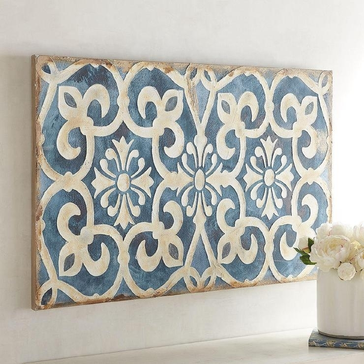 Classy Design Rectangular Wall Art Home Pictures Indigo Tile Pertaining To Tile Canvas Wall Art (View 4 of 25)