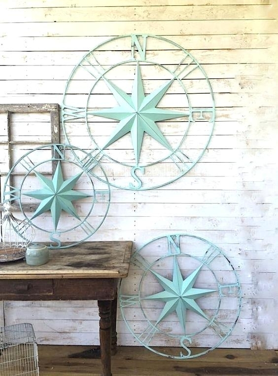 Coastal Metal Wall Decor Awesome Nautical Wall Decor Metal Compass Intended For Nautical Wall Art (Image 2 of 10)