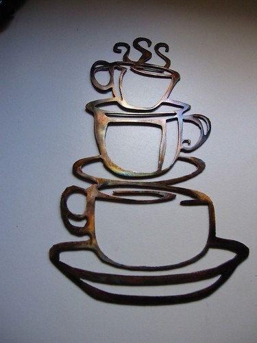 Coffee Cups Kitchen Home Decor Metal Wallheavensgatemetalwork With Regard To Kitchen Metal Wall Art (Image 2 of 25)