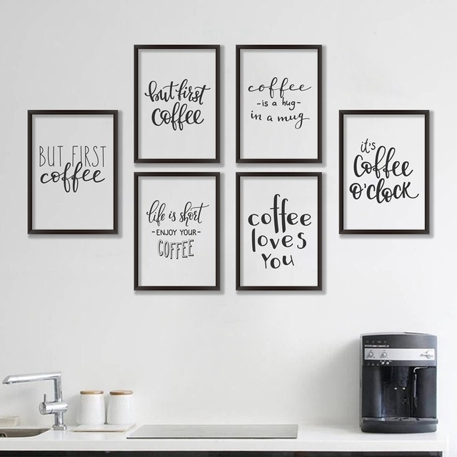 Coffee Quote Canvas Art Print Poster, Simple Style Wall Pictures For Throughout Quote Wall Art (Image 2 of 25)