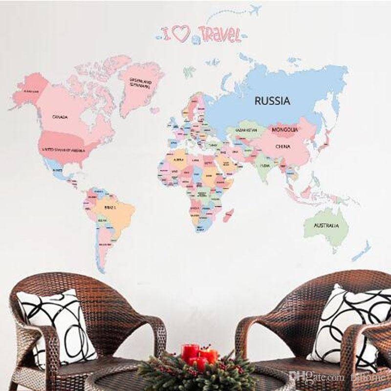 Colored Letters World Map Diy Vinyl Wall Stickers Kids Love Home Intended For Vinyl Wall Art World Map (Image 7 of 25)