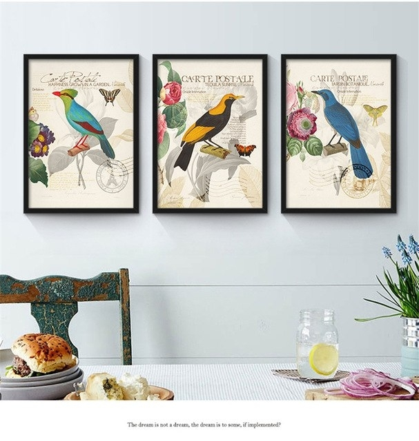 Colorful Birds Flowers Theme Murals American Countryside Style Throughout Bird Framed Canvas Wall Art (Image 12 of 25)