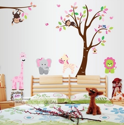 Colorful Cartoon Jungle Zoo Animal World Nursery Wall Decal Intended For Baby Room Wall Art (Image 11 of 20)