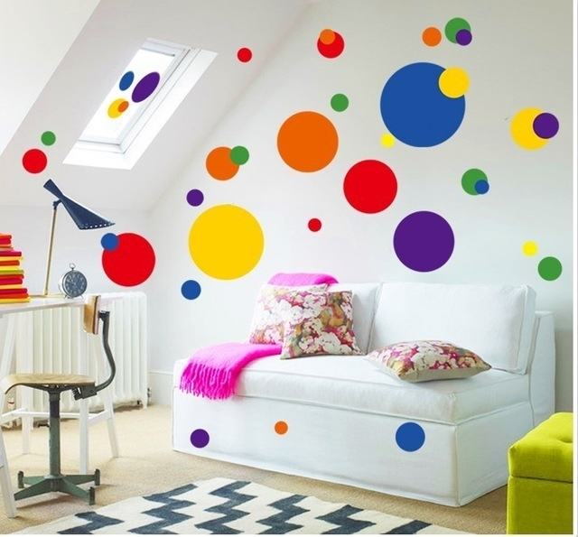 Colorful Circle Wall Sticker Bathroom Kitchen 7158 Decorative Within Circle Wall Art (Image 9 of 25)
