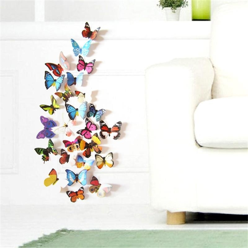 Colorful Design 3D Butterfly Wall Sticker Decor Butterflies Art Wall Within Butterfly Wall Art (Image 6 of 10)