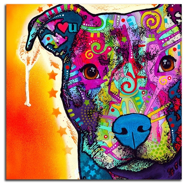 Colorful Pitbull Metal Wall Art – Contemporary – Prints And Posters Throughout Colorful Wall Art (Image 6 of 20)